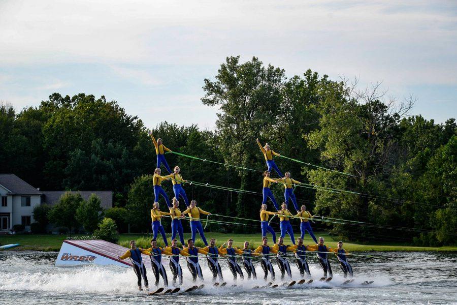 alt=lake city skiers performing in kosciusko county on water skis