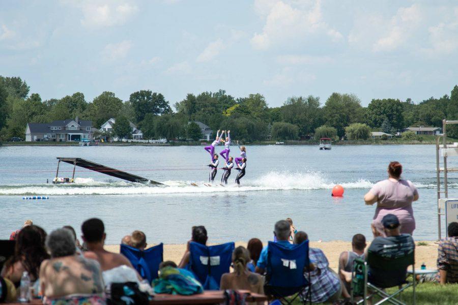 alt=lake city skiiers performing in warsaw, IN